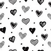 Sketch Hearts Seamless Pattern. Romantic Doodle Love Valentines Day Vector Texture. Illustration Of  poster