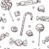 Seamless Candy Background. Sketch Chocolate Candy, Lollipop And Marmalade Sweets, Hand Drawn Vector  poster