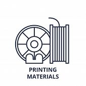 Printing Materials Line Icon Concept. Printing Materials Vector Linear Illustration, Symbol, Sign poster