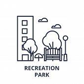 Recreation Park Line Icon Concept. Recreation Park Vector Linear Illustration, Symbol, Sign poster
