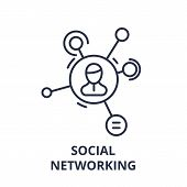Social Networking Line Icon Concept. Social Networking Vector Linear Illustration, Symbol, Sign poster