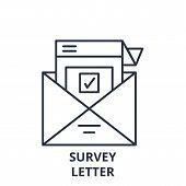 Survey Letter Line Icon Concept. Survey Letter Vector Linear Illustration, Symbol, Sign poster