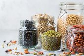 Assortment Of Vegan Protein Source Food, Legumes, Lentils, Chickpeas, Beans poster