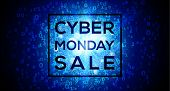Cyber Monday Sale On Digital Binary Code 1 And 0 Numbers Blue Vector Background poster