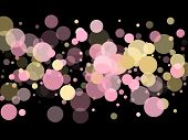 Pink Gold Confetti Circle Decoration For Christmas Banner Background. Bokeh Lights Effect Vector. Go poster