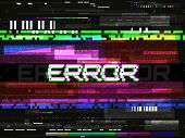 Glitch Error Template. Video Problem Concept. Color Pixels And Lines. Glitched Elements And Noise On poster