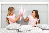 Sisters Play Pillows Bedroom Party. Pillow Fight Pajama Party. Evening Time For Fun. Sleepover Party poster