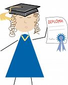 Graduate With Diploma And Cap.