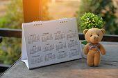 Desktop Calendar 2019 Place On Wooden Office Desk.calender And Teddy Bear For Planner Timetable,agen poster