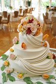 Beautiful White Wedding Cake With Roses.