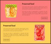 Preserved Food Web Banners With Fruit Or Vegetables. Oranges In Juice And Marinated Chili Pepper Ins poster