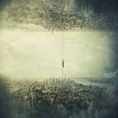 Man Hanging On Chain Escape From The City To Another Parallel Reality. Mystical Concept Salvation An poster