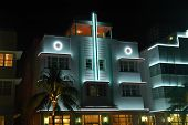Art Deco Hotel In South Beach At Night