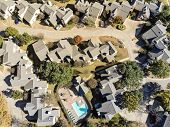 Aerial Townhouse Complex With Swimming Pool And Colorful Autumn Leaves Near Dallas, Texas poster