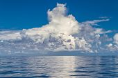 Calm Sea Ocean Blue Sky Background. Zen Background, Inspirational Sky Clouds Background. Natural Sun poster
