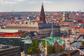 Scenic Summer Aerial View Of Old Town Skyline With Boersen And Christiansborg And Lot Of Red Roofs,  poster
