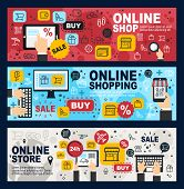 Online Shop, Internet Shopping Commerce And Web Trade Banners. Vector Mobile Retail Store Sale Order poster
