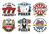 Casino Poker Gambling Game Icons. Vector Symbols Of Poker Ace Cards, Golden Horseshoe, Wheel Of Fort poster