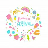 Cute Girl Teenager Colored Summer Icon Sticker, Fashion Cute Teen And Princess Icons. Magic Cute Obj poster