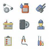 Repair Of Machinery Icons Set. Cartoon Set Of 9 Repair Of Machinery Icons For Web Isolated On White  poster