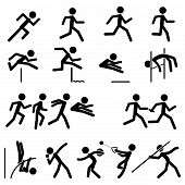 stock photo of pole-vault  - Simple Sport Pictogram Track  - JPG