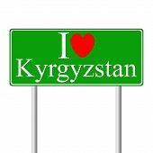 I love Kyrgyzstan, concept road sign