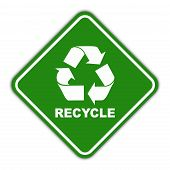 Green recycle road sign