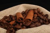 Grains Of Coffee And Stick Cinnamon