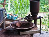 foto of wooden box from coffee mill  - Close up of Vintage coffee mill grinder  - JPG
