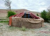 stock photo of yurt  - The construction of the yurt in the steppes of Mongolia - JPG