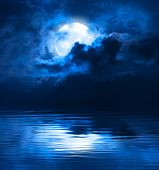 image of moon silhouette  - Dark Blue Night Full Moon Over Water - JPG
