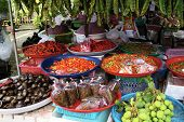 Fresh Food Stall In Asia  Phuket Thailand Selling Mixed Goods
