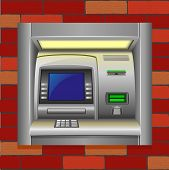 Atm On A Brick Wall