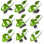 Swoosh Green Alphabet with Leaf Icon Set 1