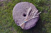 Historical Millstone With Wheat Crop Bunch