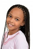 image of cornrow  - isolated Closeup young african female child on white background - JPG