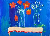 Flowers in vases acrylic painting by Kay Gale