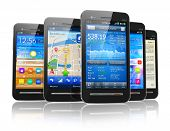 Set van touchscreen smartphones
