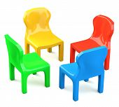 Four Colored Cartoon-styled Chairs