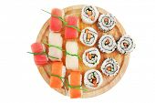 Japanese Cuisine - Maki Roll with Deep Fried Vegetables inside with Set of Nigiri sushi topped with