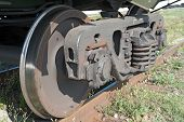 The Railway Wheels Of Old Soviet Cargo Wagon.
