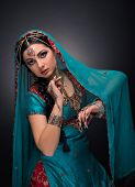 stock photo of indian sari  - A beautiful Indian princess in national dress - JPG