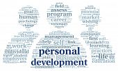 image of self assessment  - Personal development concept in word tag cloud on white - JPG