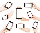 Hands Holding Smart Phones Isolated