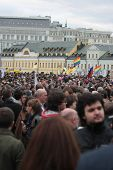 MOSCOW - MAY 6: Participants of the protest manifestation of opposition, Bolotnaya square in Moscow, Russia on May, 6, 2013