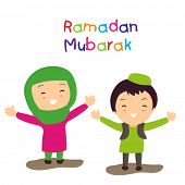 Muslim community holy month Ramadan Mubarak background with two happy muslim kids in traditional out
