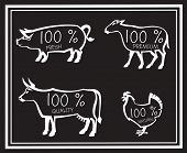 monochrome illustration of four farm animals