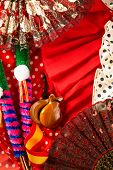 stock photo of castanets  - Espana typical from Spain with castanets rose fan comb bullfighter and flamenco dress - JPG