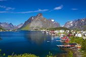 stock photo of reining  - Picturesque fishing town of Reine by the fjord on Lofoten islands in Norway - JPG