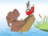Elephant and rabbit drown in a boat